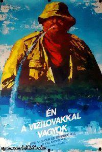 Ungarisches Filmplakat. Ungarischer Titel: Én a vizilovakkal vagyok
