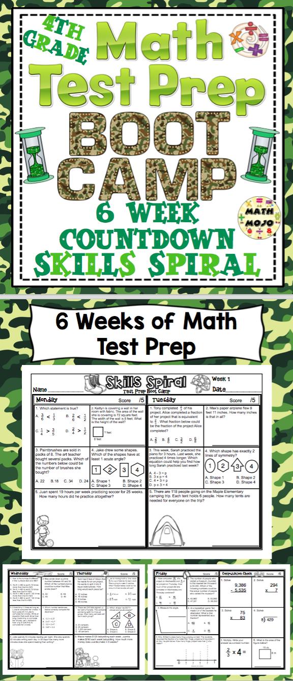 Math Test Prep Boot Camp (4th Grade) 6 Week Countdown | Math test ...