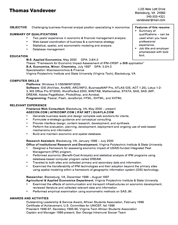 sample cv of financial analyst resume http