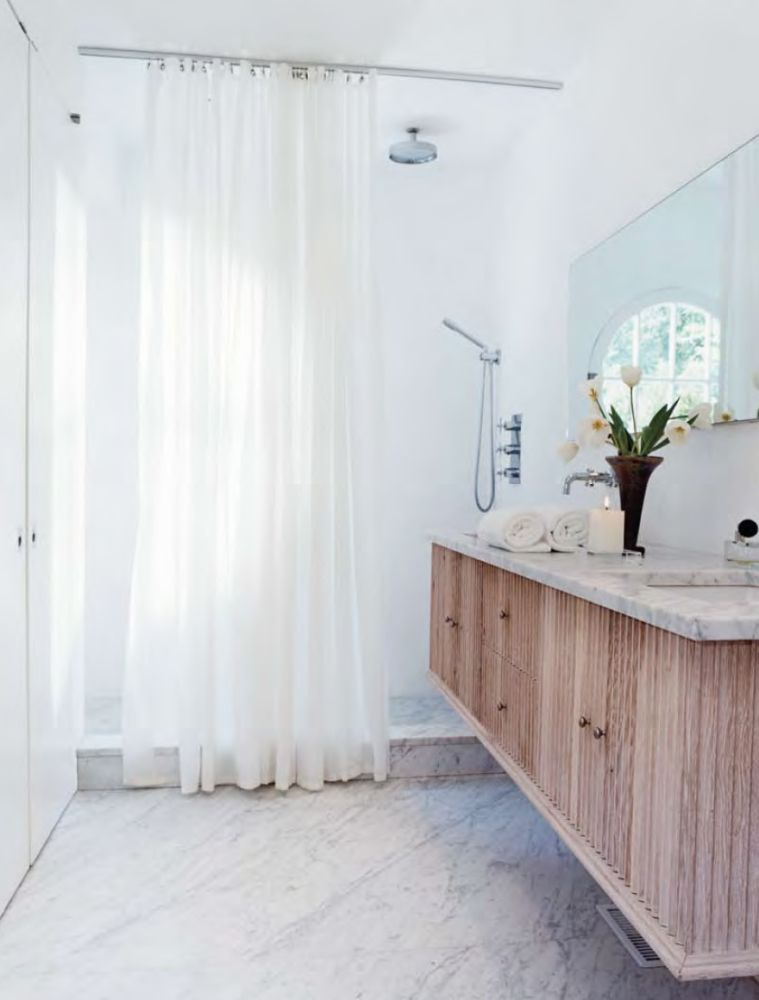 Bathroom Vanity Is Cantilevered W Fluted Wood Curtain