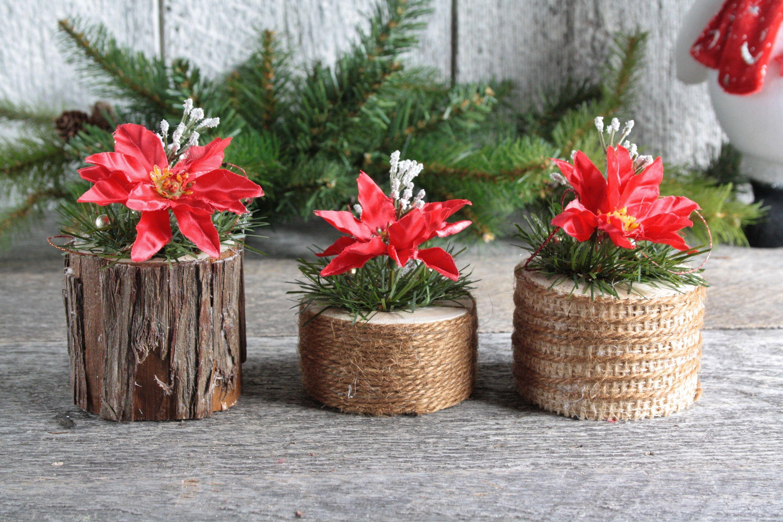 Decor Noel Trio Petits Rondins Bois Rustique Avec Poinsettia