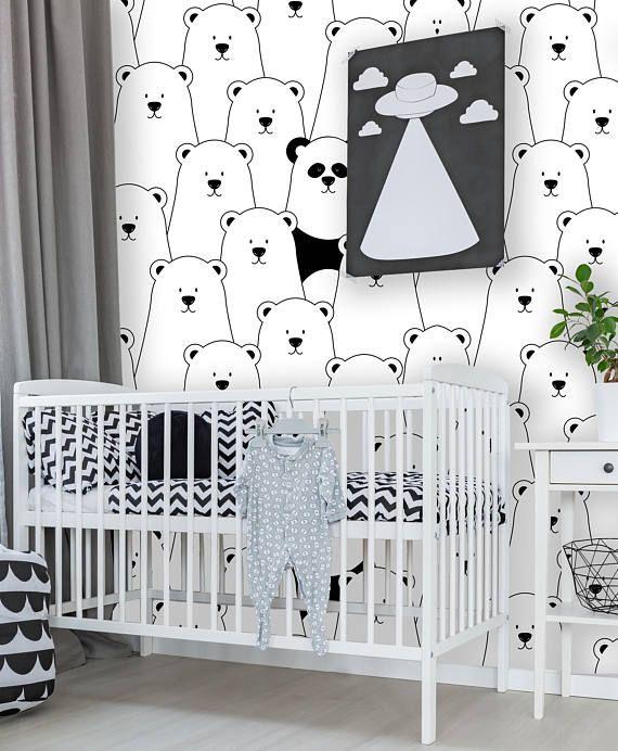 Removable Nursery Wallpaper Peel \ Stick Nursery Wallpaper Polar