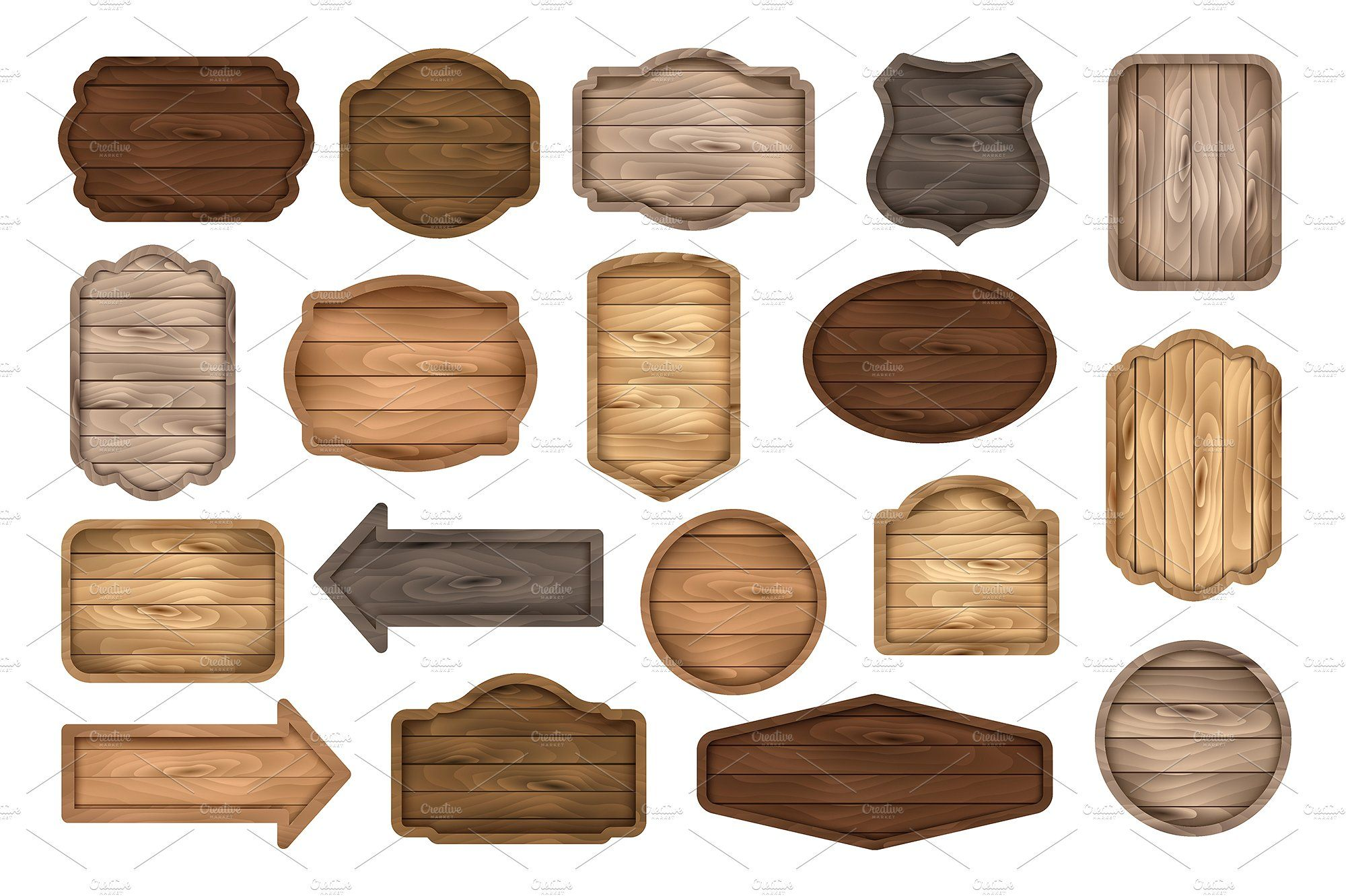 Wooden Signs Boards Labels Badges Wooden Signs Sticker Labels Discount Banner
