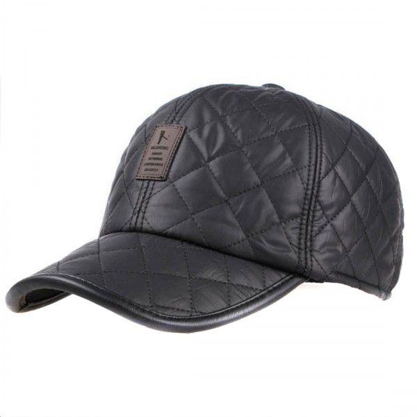 1bb433d68ff Quilted Warm Ear Flap Black Baseball Cap