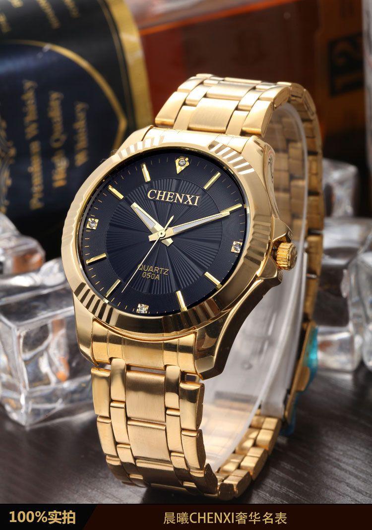 5b1f0640f82 NATATE CHENXI Relógio de Ouro Da Moda Homens Relógio de ouro Cheio de Aço  Inoxidável Relógios de Quartzo Relógio de Pulso Por Atacado Relógio…
