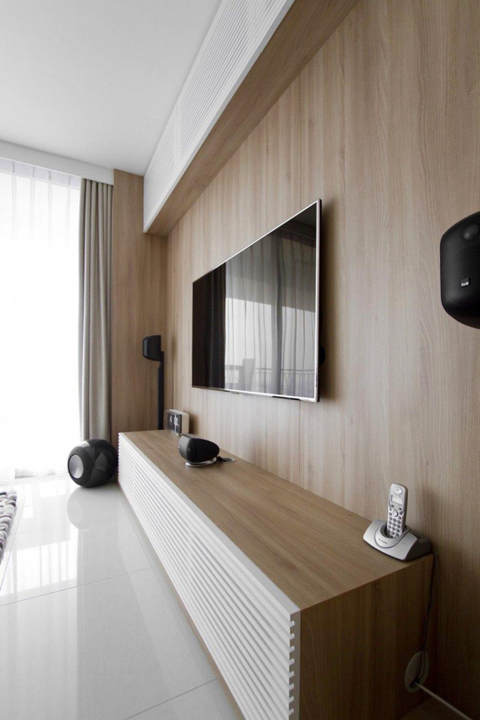 Tv Unit Design Wall Mounted: Inspiring Modern Apartment Interior Wooden Wall Accent