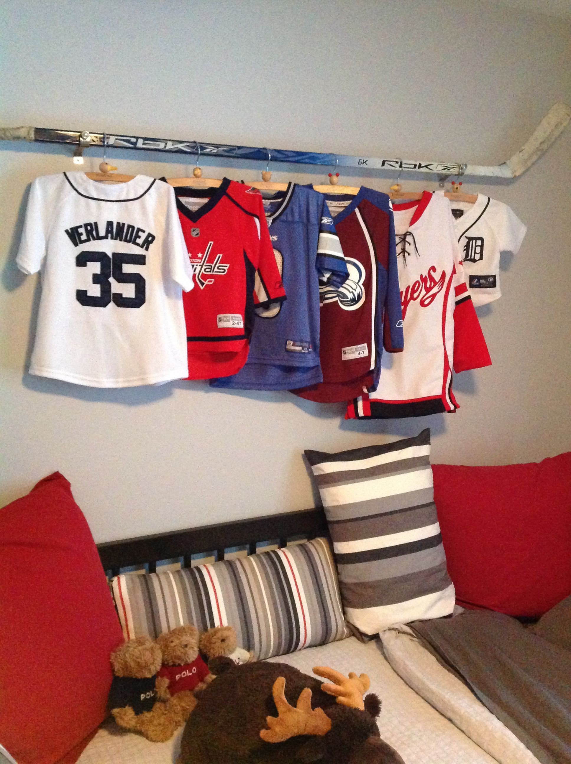 A Cool Way To Display My Son S Jerseys Using His Opa S
