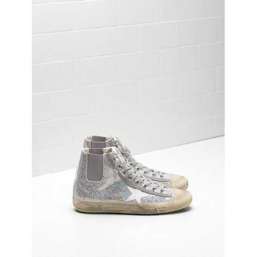 425d43dfd11e6e Pas Cher Golden Goose V-Star Sneakers GGDB Chaussures Femme Bling Blanc  Soldes