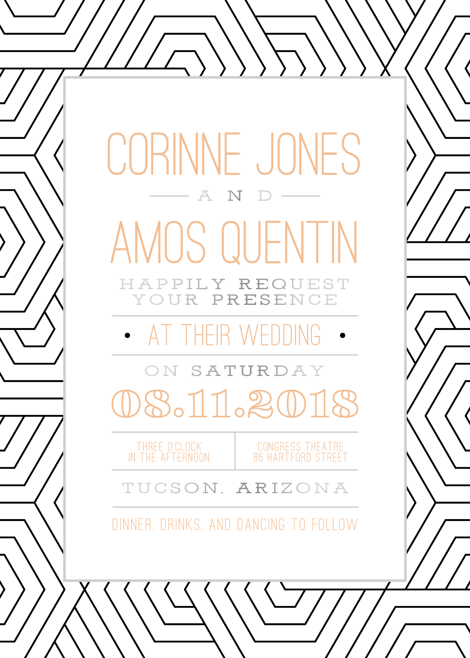 silver foil wedding invitations, bold wedding invitations, custom ...