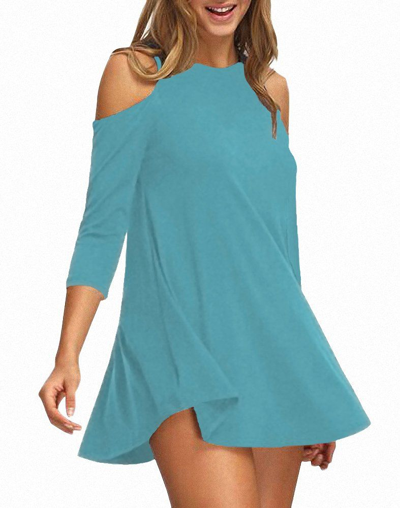 082926ca0cfd Afibi Womens Cold Shoulder Half Sleeve Swing Tunic Tops for Leggings XLarge  Tiffany Blue >>> Click on the image for additional details.