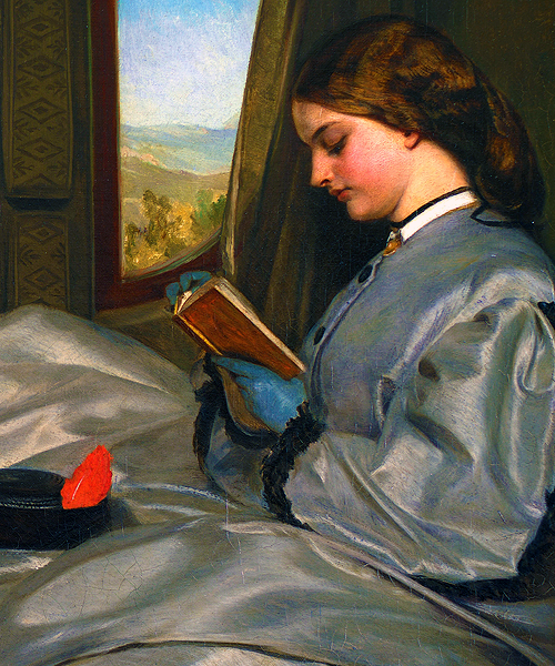 The Travelling Companions (details) by Augustus Egg (1816-1863)  oil on canvas, 1862