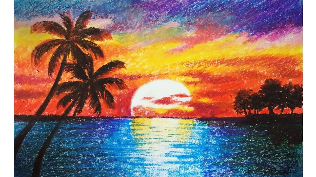 Landscape Drawing For Beginners With Oil Pastels Scenery Drawing