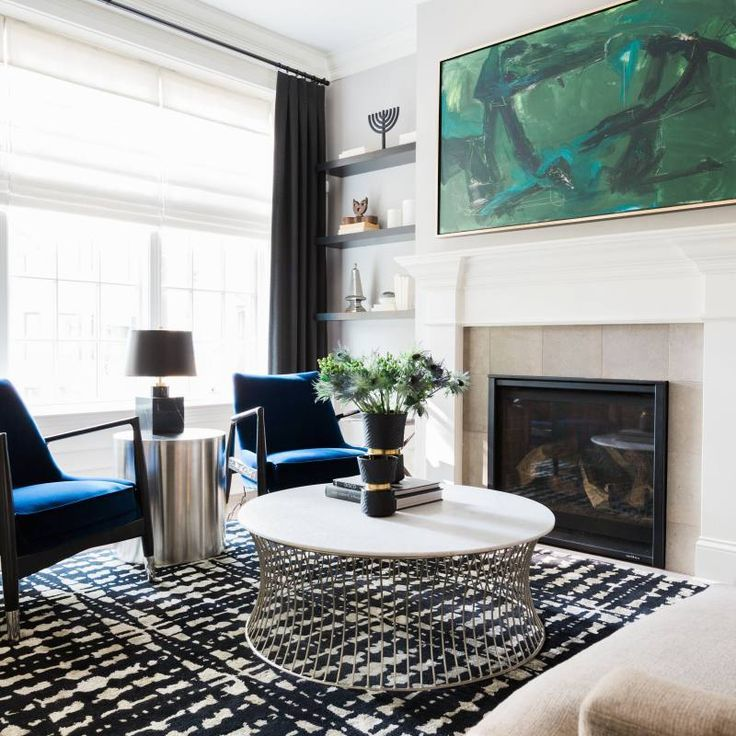 Room redo Get the Look Modern living room with blue accents in