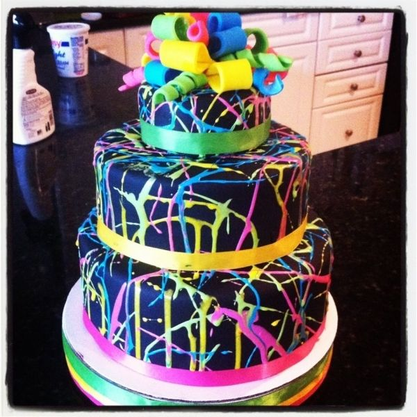 Neon Splatter Cake inspiration for the cake Im working on this