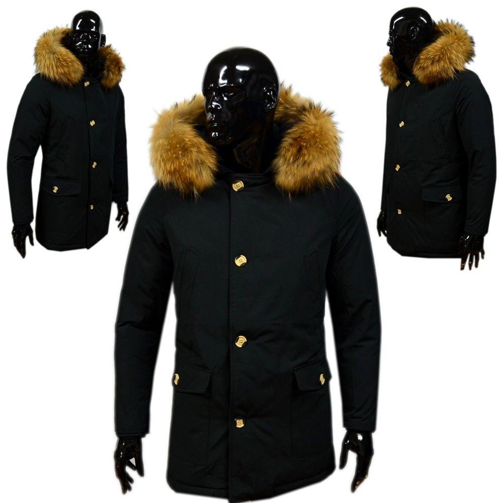 Dikke Heren Winterjas.Heren Dikke Winterjas Met Bont Zwart Zwarte Parkajas Met Bontkraag