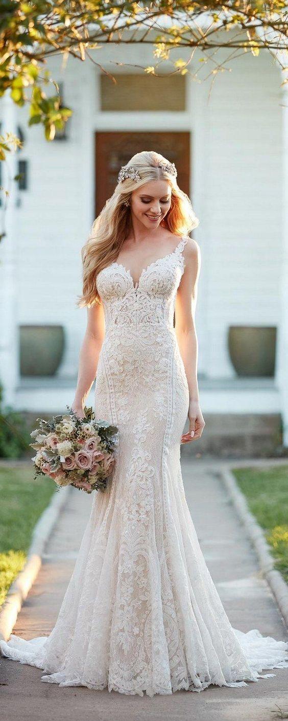 Vestido De Noiva Moderno Clássico E Rendado Casamento