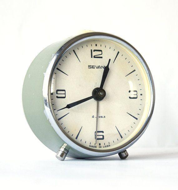 Vintage alarm clock Sevani from Armenia, green khaki clock ...