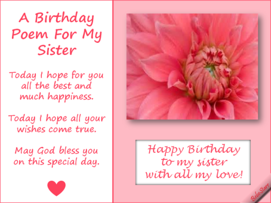 A Birthday Poem For My Sister GAMES Pinterest – Birthday Greeting Poems