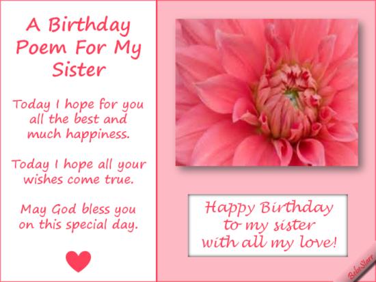 A Birthday Poem For My Sister. | GAMES | Pinterest | Birthday ...
