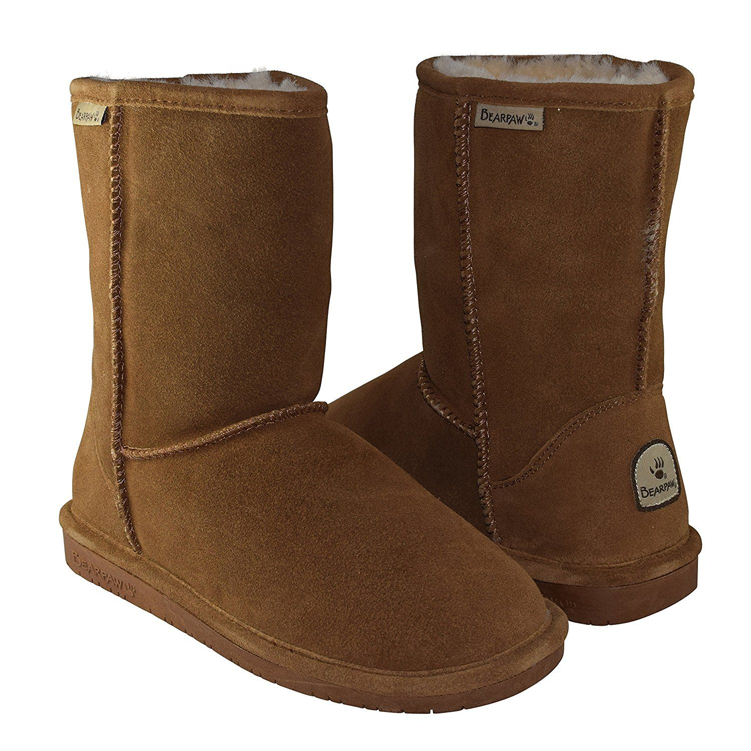 BEARPAW Women's Emma Short Shearling Boots 608-W Hickory (Chestnut) * Trust  me
