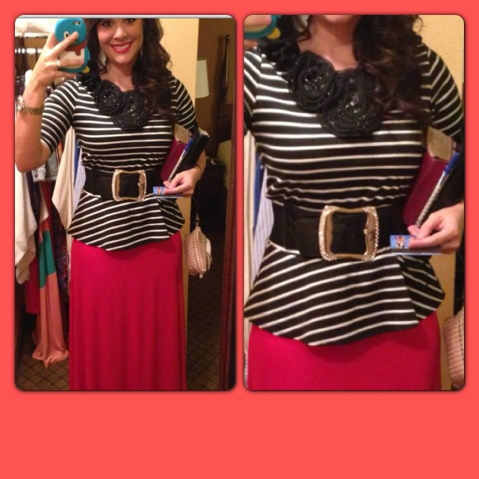 Love peplum and maxis! with black belt, black and white stripes, and red maxi.