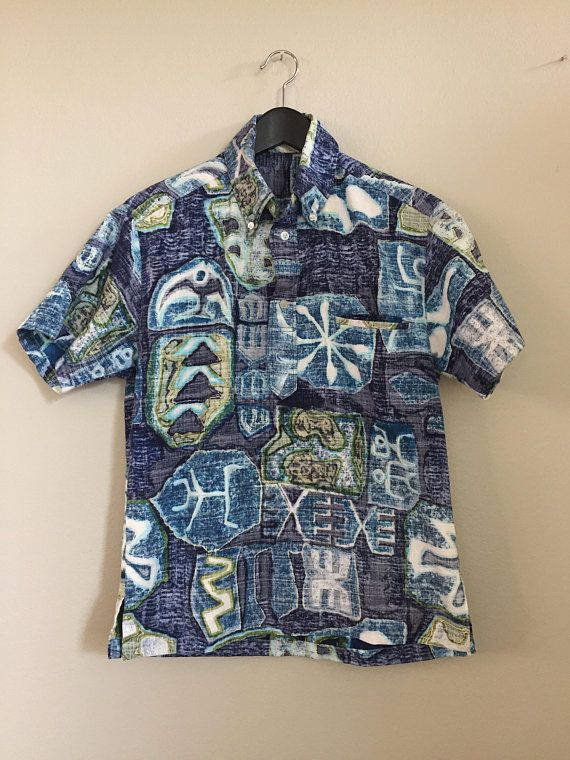 5f2e9ebe Vintage 80s Hawaiian Shirt. Size Small, Bark Cloth, Button Down, Pullover,  Blue Green Tapa, Reverse