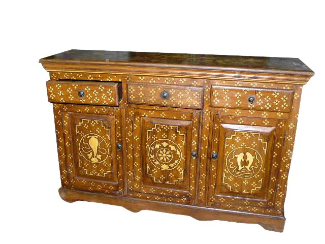 Bone Inlay Antique Furniture Sideboard Buffet Chest Carved Wood India Home  Decor