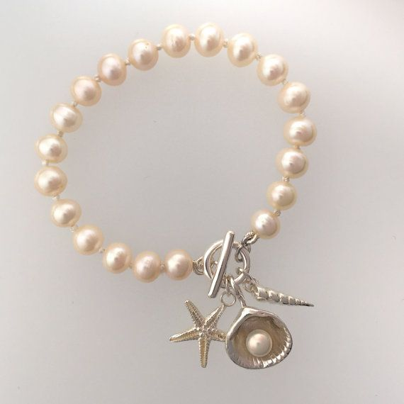 Freshwater pearl bracelet with silver shells by WendyPenrose