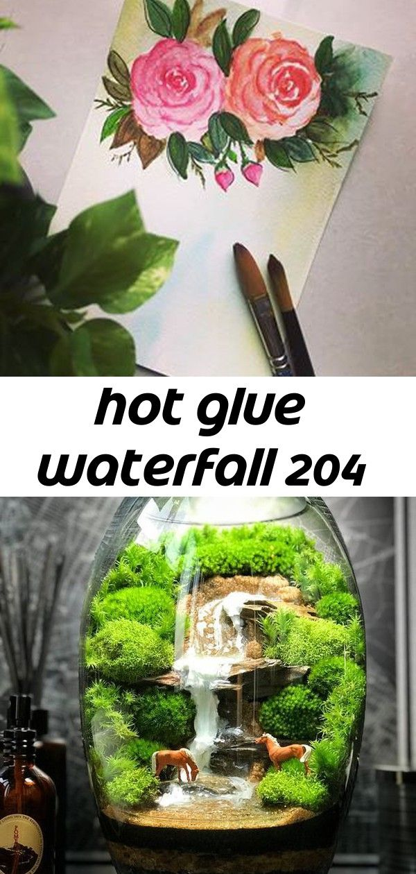 Hot glue waterfall 204 Have a great day! ? Terrarium mit Wasserfall und Pferden - Got a chance to paint something after 2 weeks ? hope you like it!