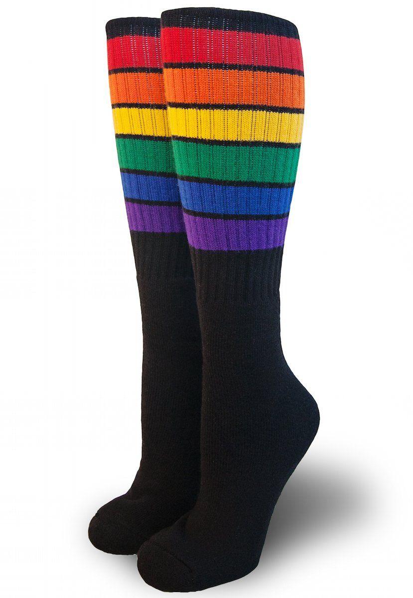 a0869bab784 Glow Rainbow Stripe Knee High Tube Socks