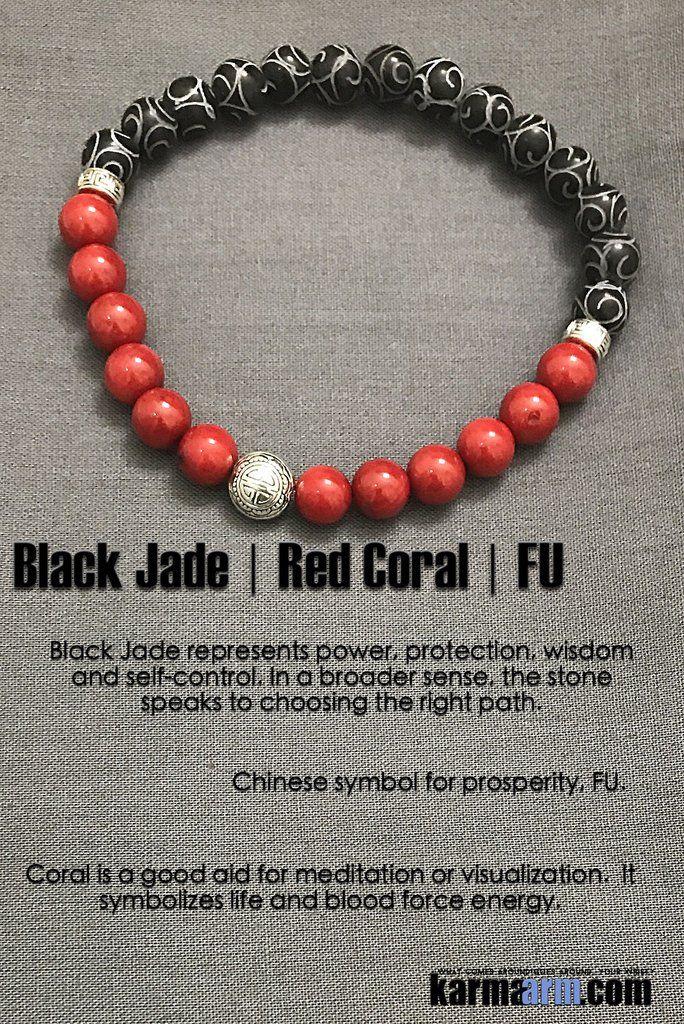 831fcfd94b1b3 PROSPERITY: Black Jade | Red Coral | Yoga Chakra Bracelet | Jewelry ...
