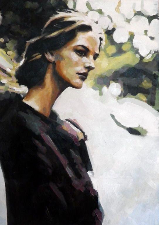 "Saatchi Online Artist: thomas saliot; Oil, Painting ""Intense girl"""