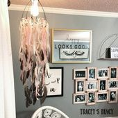 Gray and Rose Gold Girls Bedroom by Traceys Fancy #GreybedroomWithPopOfColor #graybedroomwithpopofcolor