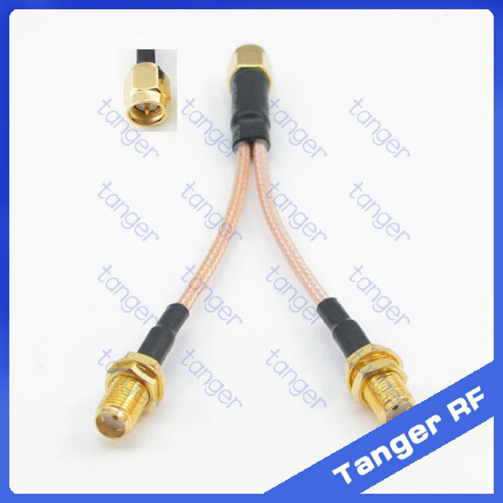 Hot Y Type Branch 1 Sma Male Plug To 2 Sma Female Jack Connector With Rg316 Rg 316 Rf Coaxial Pigtail Jumper Cable Jumper Cables Antenna Electrical Equipment