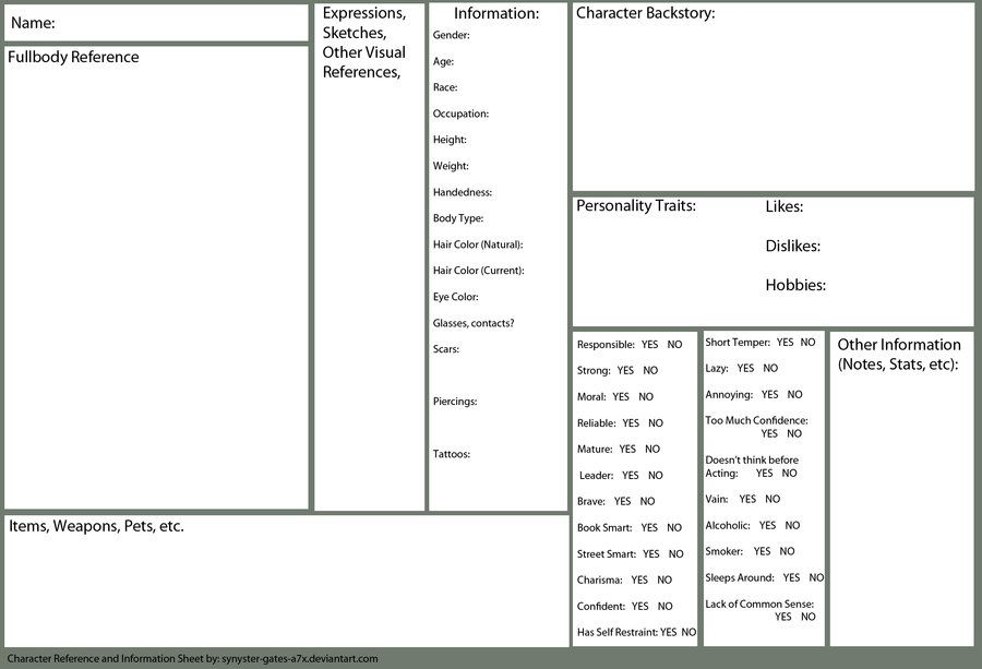 Character Reference And Information Sheet Blank By Synyster