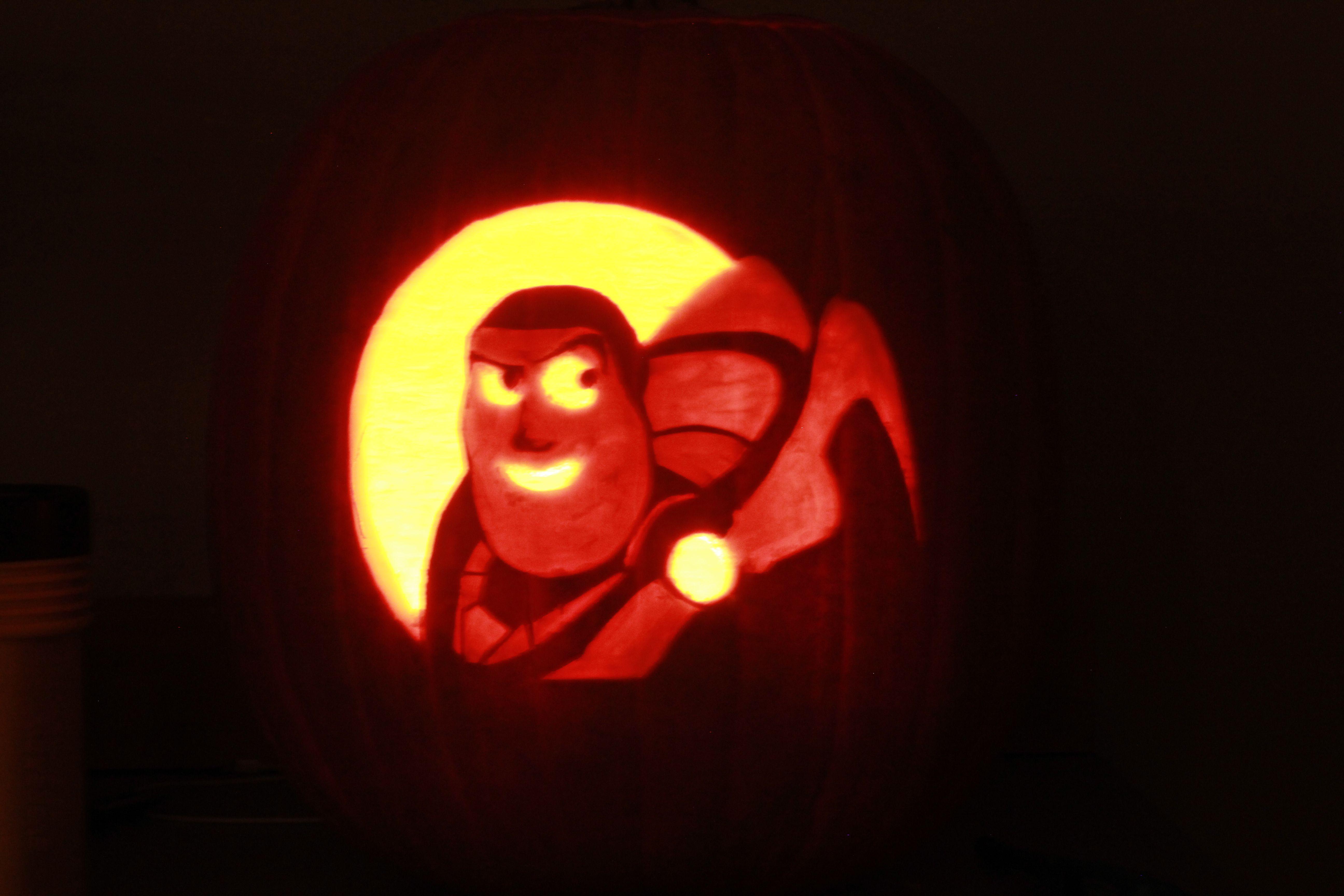 Buzz Lightyear Pumpkin From Toy Story Pumpkin Carving Pumpkin Halloween Pumpkins