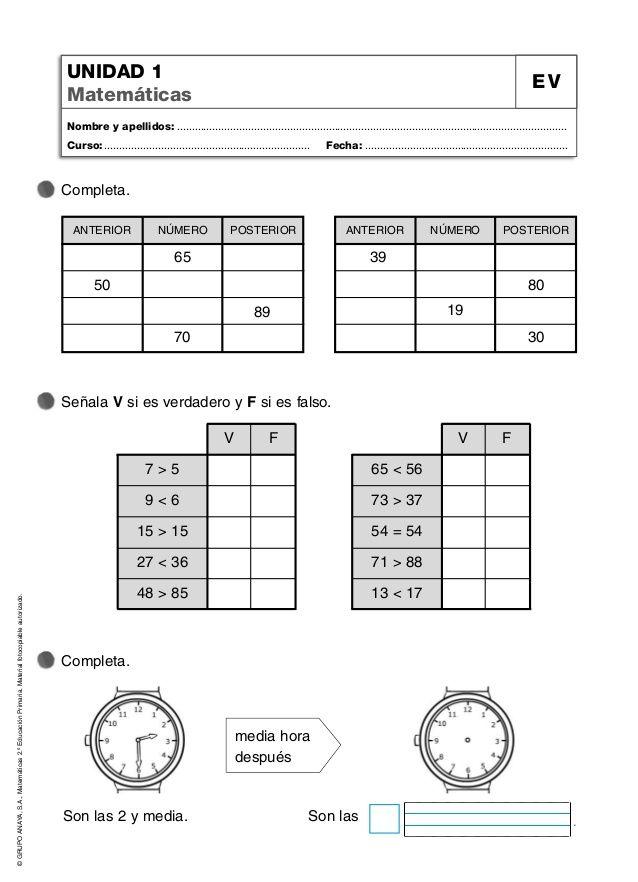 Grupo Anaya S A Matemáticas 2 º Educación Primaria Material Fotocopiable Autorizado Unida Primaria Matematicas Anaya Matematicas Fichas De Matematicas