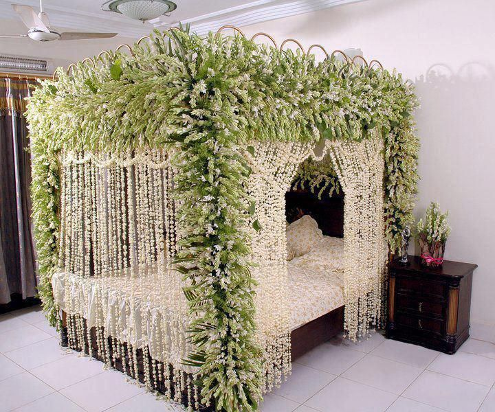 Going For A Forest Themed Guest Bedroom 1 This Is A Good Idea If Toned Down And Using Vines Instead Of Bead Garden Bedroom Wedding Room Decorations Bed Decor