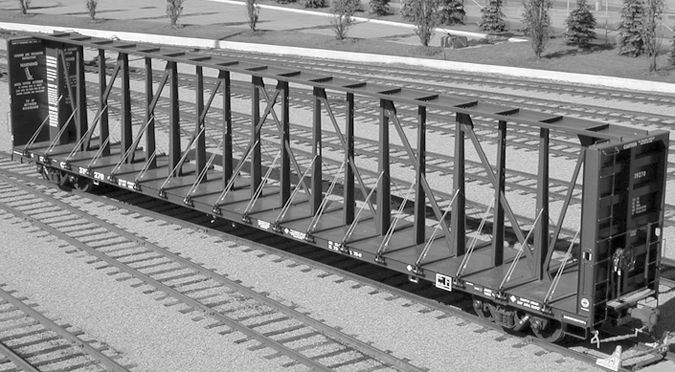 73-foot centerbeam car is designed with a capacity of 112 tons at a gross rail load of 286,000 pounds.