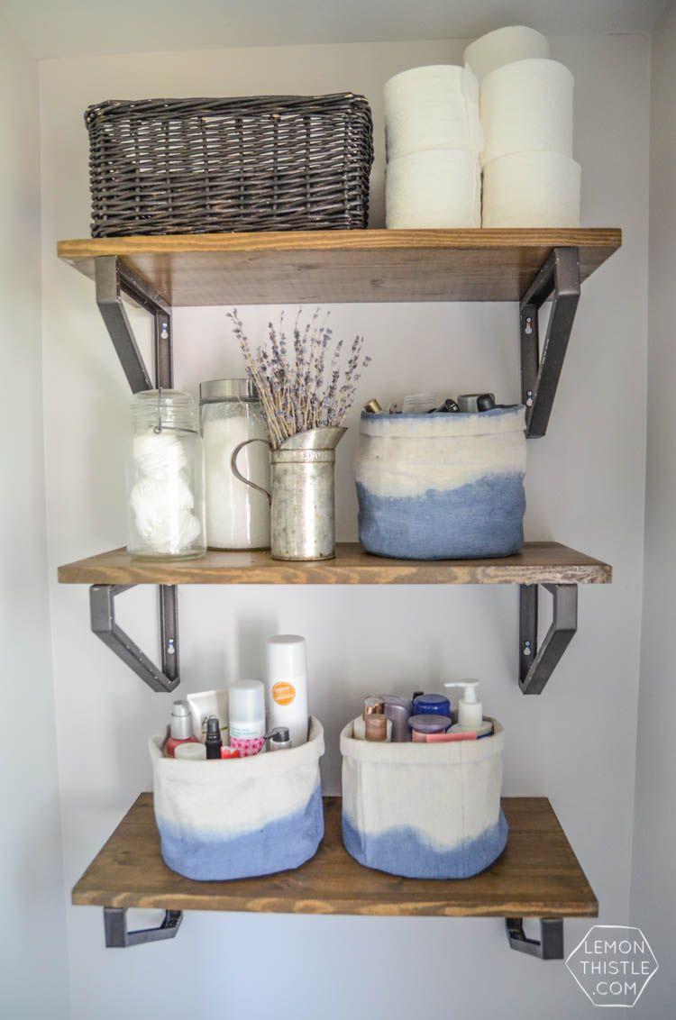 Diy Dip Dye Cloth Baskets Bathroom Organization Lemon Thistle Bathroom Organization Diy Bathroom Shelf Decor Bathroom Baskets