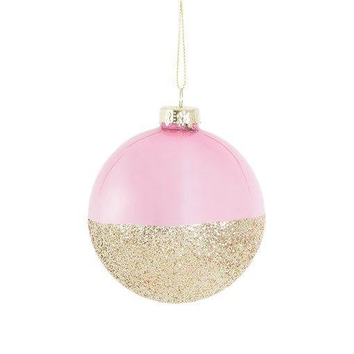 Pink Gold Glitter Dip Bauble #weihnachtsdekoimglasmitkugeln