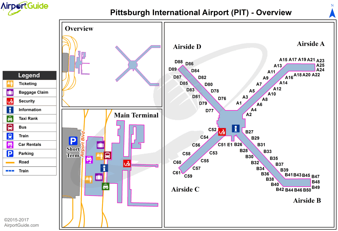 map of pittsburgh airport Pittsburgh Pittsburgh International Pit Airport Terminal Map map of pittsburgh airport