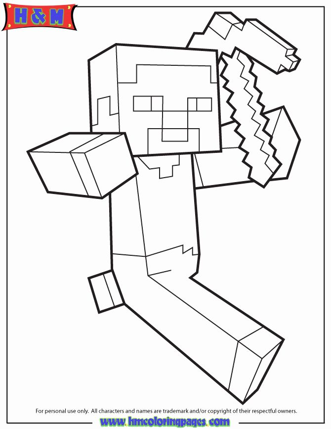Minecraft Steve Coloring Page Awesome Steve Running Holding Pickaxe Coloring Page Minecraft Steve Minecraft Coloring Pages Coloring Pages Inspirational