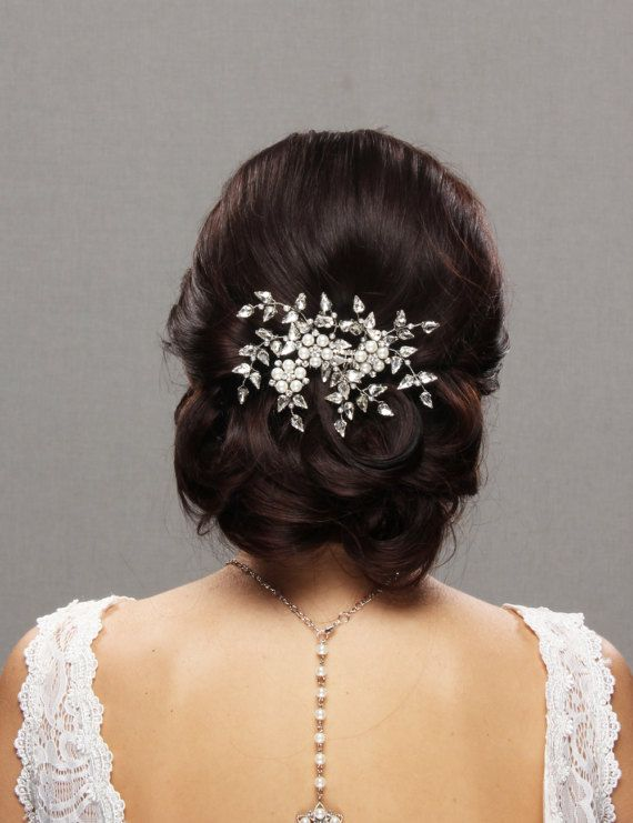 bridal hair pins rhinestone wedding headpiece pearl flower hair comb wedding hair style fascinator hair piece rose gold silver gold blush romantic sparkly