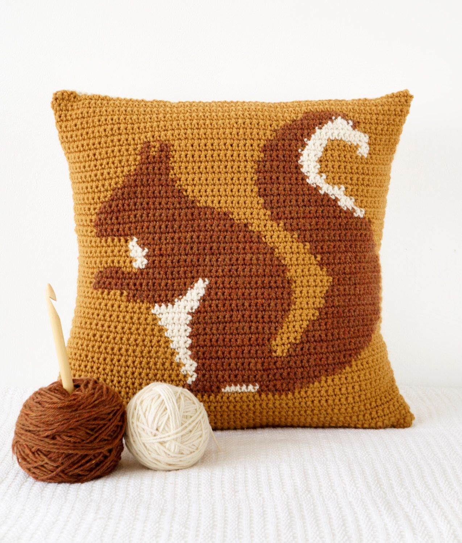 Squirrel Cushion Pillow Crochet Pattern Woodland Home Decor Nursery Mustard  Yellow Red Squirrel Animal Cushion By