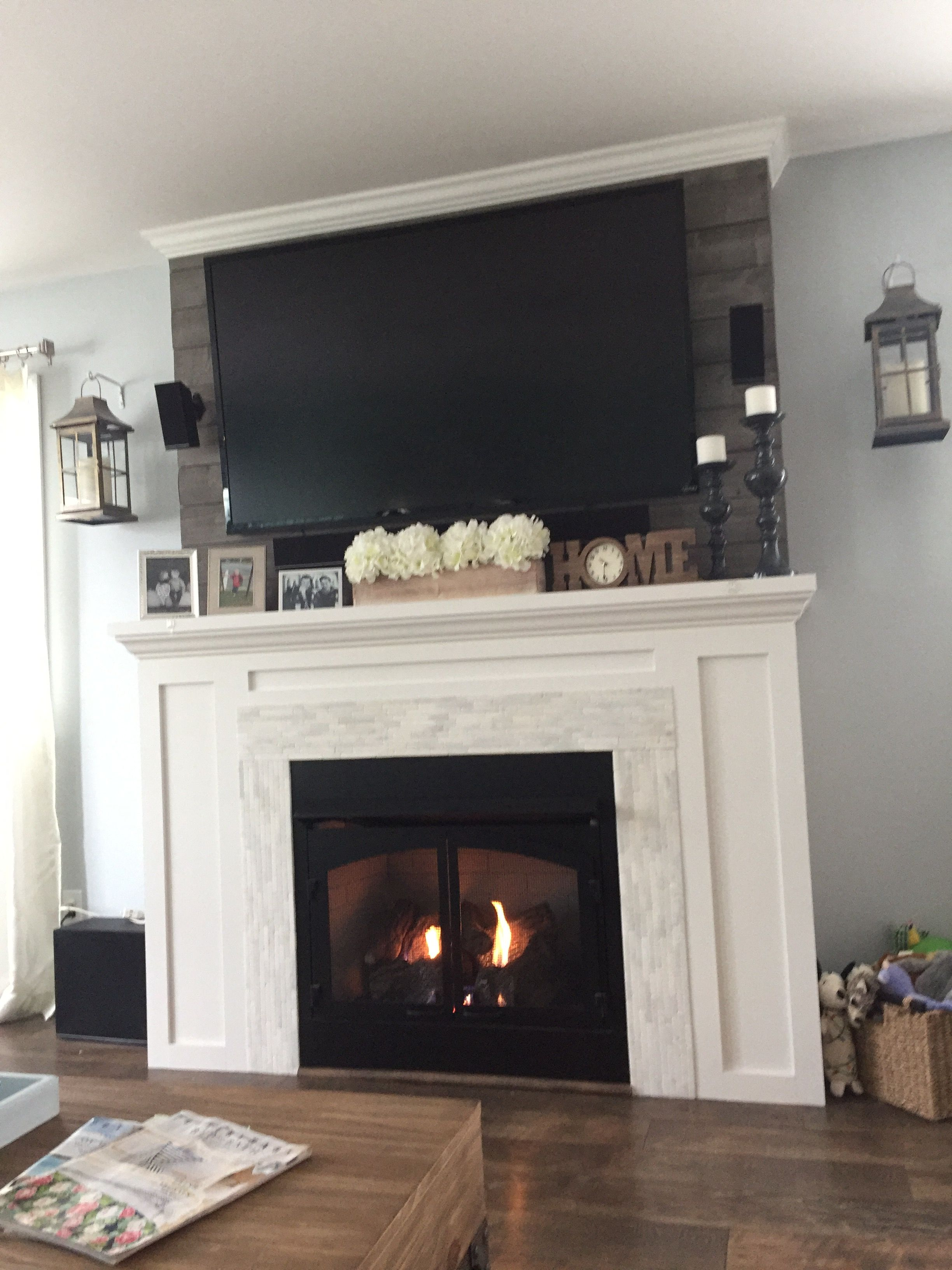DIY gas fireplace mantle | New homes, Fireplace wall, Home