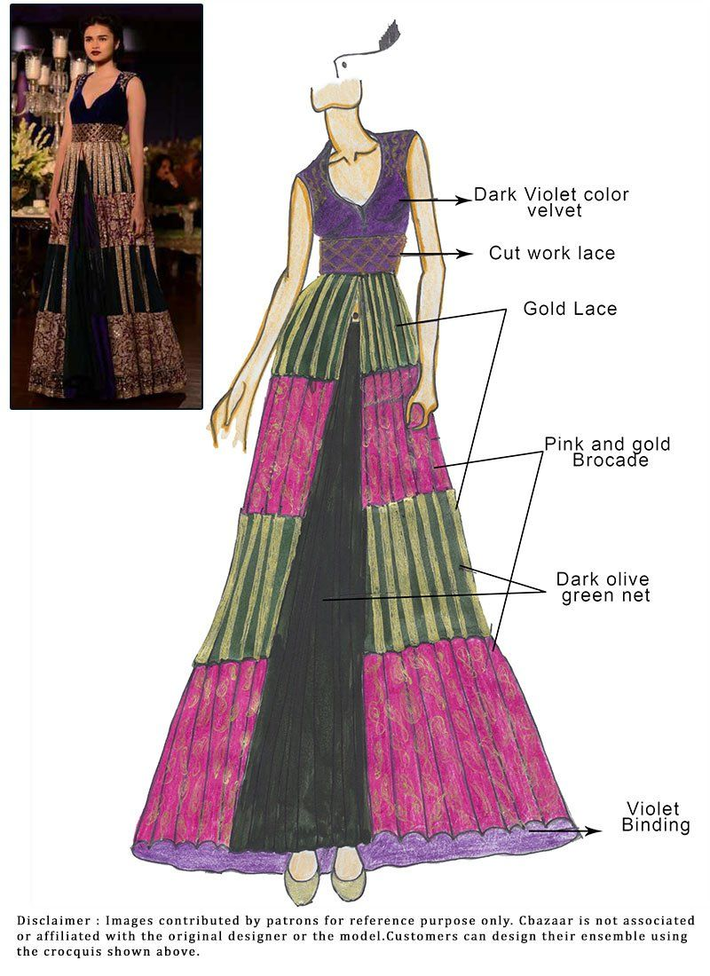 Diy net and brocade lehenga choli designer sketches in