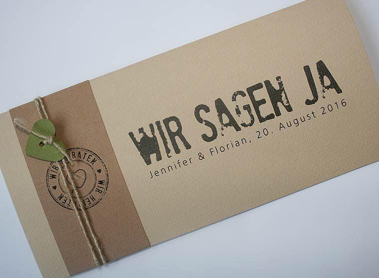 Einladungskarten · Hochzeitskarte FELINA Mit Banderole Und Kordel / Wedding  Card FELINA