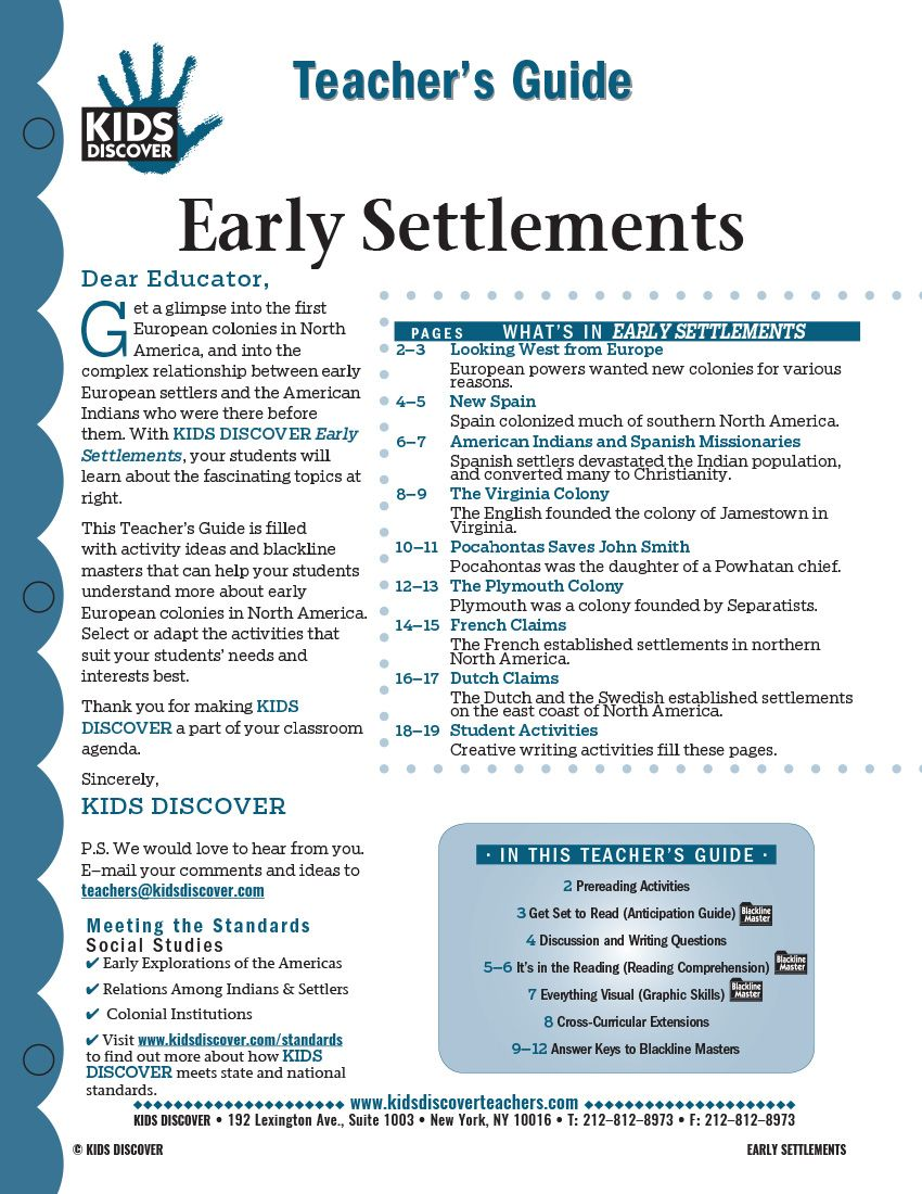 This 12-page Teacher Guide on Early Settlements is filled