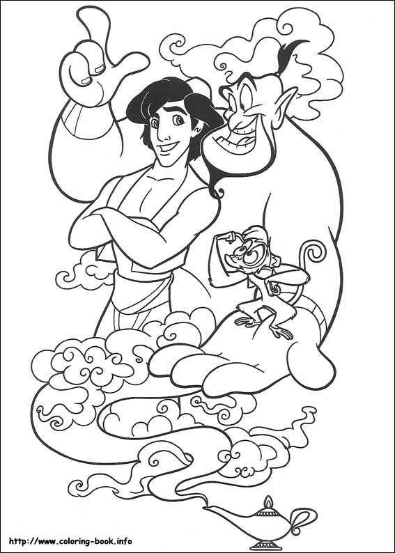 Aladdin And Genie With Abu And Magic Lamp Coloring Page Cartoon